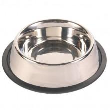 Миска для собаки металлическая с резиновым держателем 15см