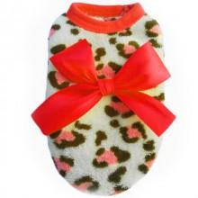 Мягкая теплая футболка Красный леопард